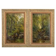 Pair of Oil Paintings Landscapes by Georges Philibert Charles Maroniez
