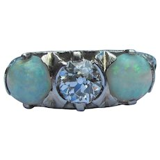 Antique Platinum Filigree Diamond Opal Ring Circa 1910