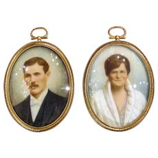 Pair Portrait Miniatures Herbert Muehlenbeck Signed dated 1930