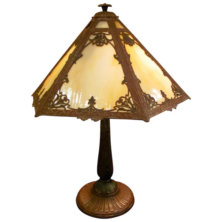 Antique Caramel Slag Glass Panel Table Lamp Circa 1920 Flanagan