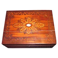 Antique Victorian Walnut Inlaid Jewelry Box Circa 1870
