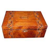 Antique English Tunbridgeware Jewelry Box  Circa 1870