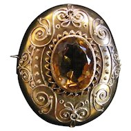 Antique Victorian 14K Gold Etruscan Citrine Brooch Circa 1860