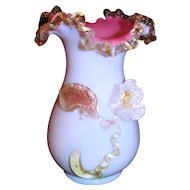 Antique English Cased Opaline Art Glass Vase Circa 1880 Stourbridge