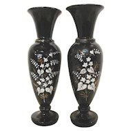 Pair Antique English Amethyst Bristol Glass Vases Circa 1870
