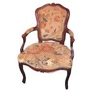 Antique French Louis XV Walnut Open Armchair Fauteuil Circa 1770