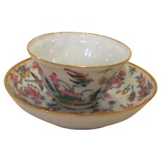 Antique Chinese Famile Rose Cup and Saucer 18th Century