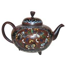 Antique Japanese Cloisonne Teapot Circa 1880 Meiji