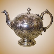 Antique Scottish Sterling Silver Cuthbert Family Bullet Teapot 1861 Edinburgh