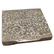 Antique Italian .800 Silver Engraved Compact Renzo Cassetti