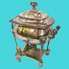Antique English Georgian Old Sheffield Plate Silver Hot Water Urn Circa 1815
