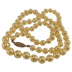 "Graduated Strand Cultured Saltwater Pearl Necklace 20"" 6mm-9.5mm"