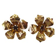 Vintage 1940's 14K Amethyst Flower Earrings Screwback