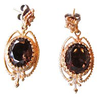 Vintage Smokey Quartz Earrings 14K Yellow Gold