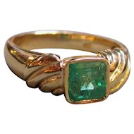 Vintage 18K  Gold Emerald Ring  1.20ct.