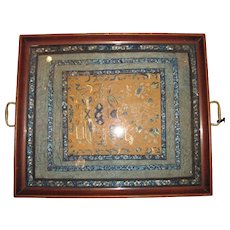 Antique Chinese Embroidered Silk Panel with Forbidden Stitch Tray  Circa 1900