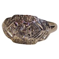Vintage 14K White Gold Diamond Ring Circa 1950 .64cts.