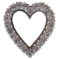Vintage 14K White Gold and Diamond Heart Brooch Pendant Combo Circa 1950 2.4cts.