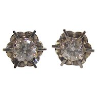 Vintage 14K White Gold Diamond Stud Earrings 1950's .80cts.