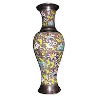 Antique Japanese Meiji Champleve Enamel Vase 19th Century
