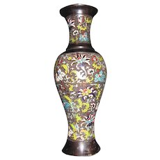 Antique Japanese Meiji Champleve Enamel Vase 19th Century