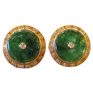 Vintage 18K Gold Imperial Jade & Diamond Earrings