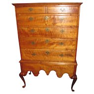 Antique American Queen Anne Tiger Maple Chest on Stand Circa 1740