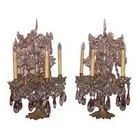 Pair of Antique Gilt Bronze Crystal Banquet Lamps Circa 1870