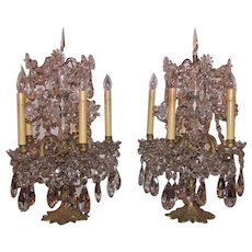 Pair of Antique Gilt Bronze Crystal Banquet Lamps Circa 1870