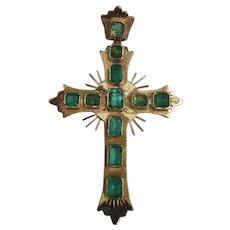 Vintage 18K Gold Emerald Cross Pendant - Red Tag Sale Item