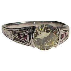 14K Ring 1.0ct. Canary Diamond and Rubies Wedding Set Custom Made
