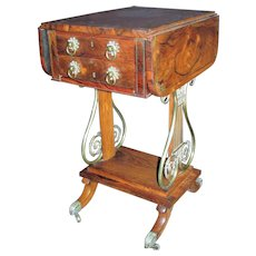 English Regency Rosewood Sewing Work Table Circa 1820