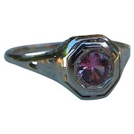 Antique 10K Filigree Pink Tourmaline Ring 1920's