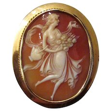 Antique Edwadian 14K Shell Cameo Brooch Pendant Circa 1910