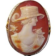 Antique Edwardian 14K Shell Cameo Brooch Pendant Circa 1915