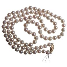 "Vintage Cultured Saltwater Pearl Necklace 26"" 6.5mm 14K Clasp"