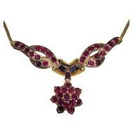 Vintage 18K Ruby Necklace Circa 1940's Retro-Modern