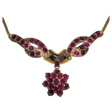 Vintage 18K Ruby Necklace Circa 1940's Retro-Modern