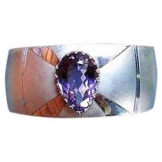 Vintage Sterling Silver Amethyst Cuff Bracelet