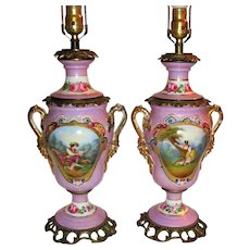 Pair Antique French Porcelain Lamps Hand Painted Circa 1930