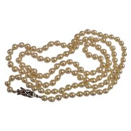 """Vintage Cultured Pearl Necklace 14K Clasp 6mm 31"""""""