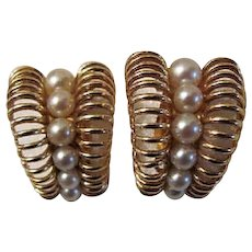Vintage 14K Gold Cultured Pearl Earrings Circa 1960's