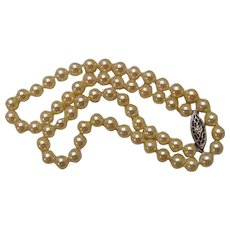 "Vintage 14K Cultured Pearl Necklace 6mm 15 1/2"" Long"