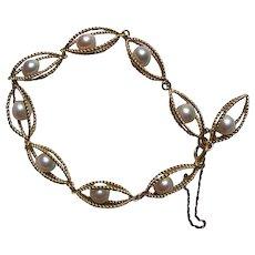 Vintage 10K Gold Cultured Pearl Bracelet Circa 1960's