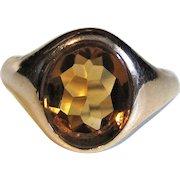 Vintage 14K Gold Citrine Ring Circa 1950