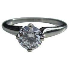 Vintage 18K White Gold Diamond Ring .85ct Circa 1950's