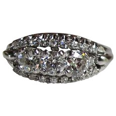 Vintage 18K White Gold Diamond Ring 1.62cts Circa 1950's