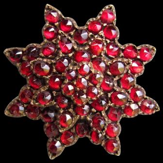 Antique Victorian Garnet Star Brooch Circa 1860