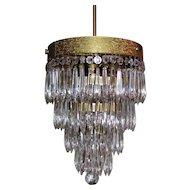 Antique Art Deco Crystal Chandelier 1920's