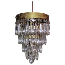Antique Art Deco Crystal Chandelier 1920's